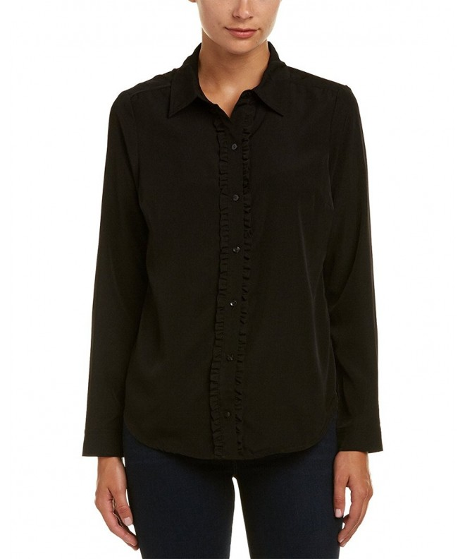 NYDJ Womens Solution Ruffle Button up