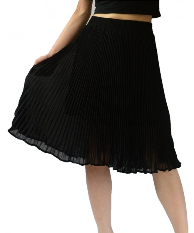 YSJ Womens Chiffon Pleated Vintage