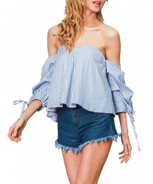Glamaker Womens Striped Shoulder Blouses