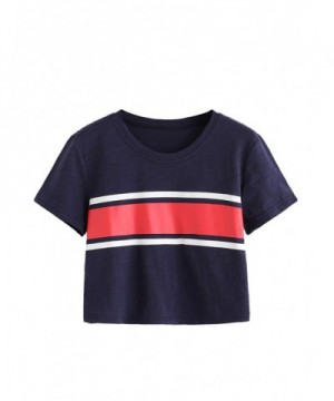 MakeMeChic Womens Contrast Striped T Shirt