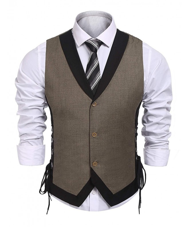 fd473a3193a Men's Vintage Slim Fit Business Dress Suit Button Down Vest Waistcoat -  Brown - CO188RC00DD