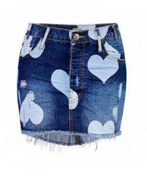 Womens Button Heart Denim Skirt