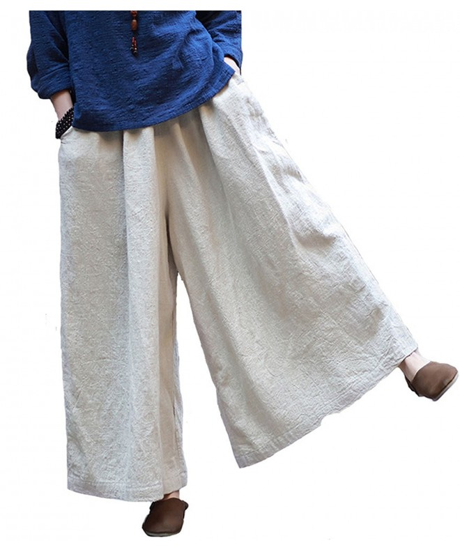 Aeneontrue Culottes Trousers Elastic Pockets