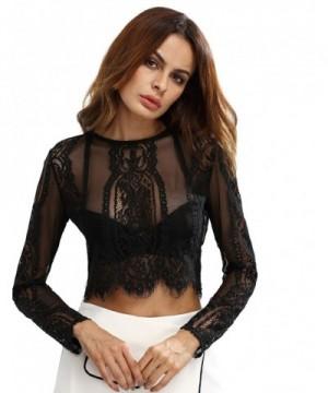MakeMeChic Womens Sleeve Sheer Blouse