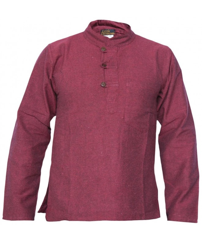 Cotton Grandad Collarless Pocket Maroon