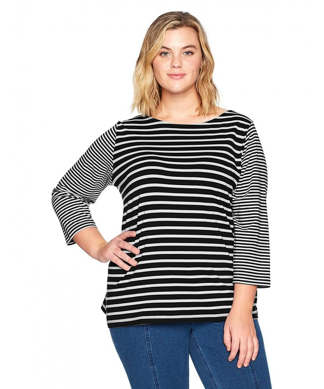Ruby Rd Womens Boat Neck Striped