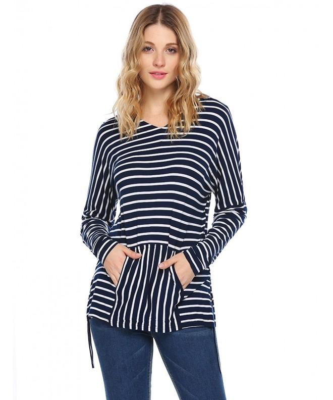 Zeagoo Pocketed Striped Pattern Sweatshirt