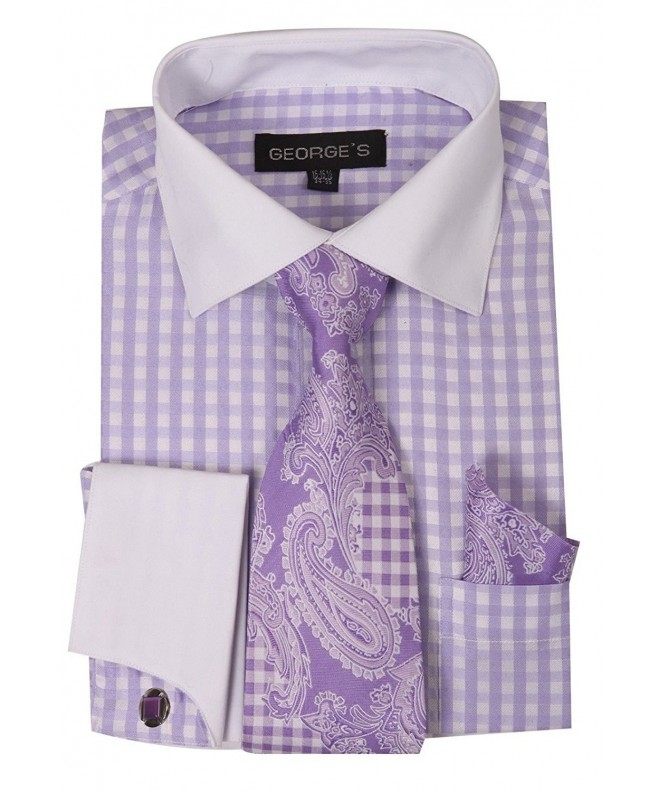 Fortino Gingham Pattern Cufflinks AH6155 Lavender 16 16