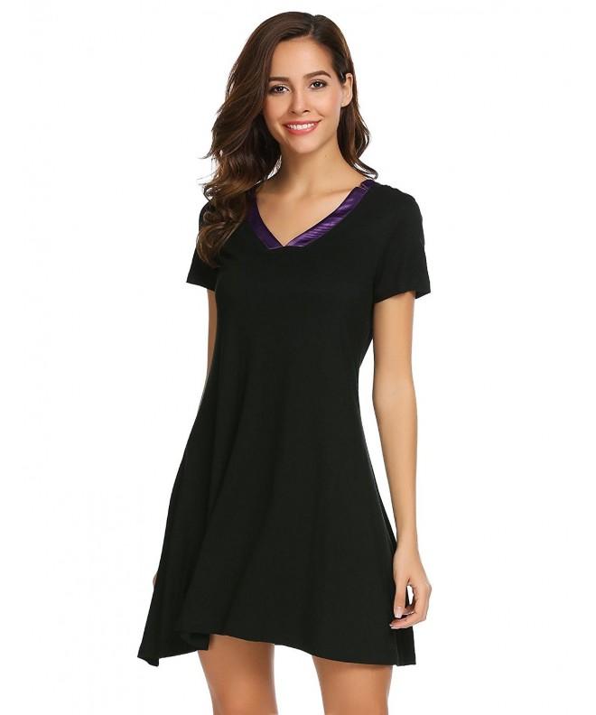 c283404cd5 Women s Short Sleeve Nightshirt V-Neck Loose Nightgown - Black ...