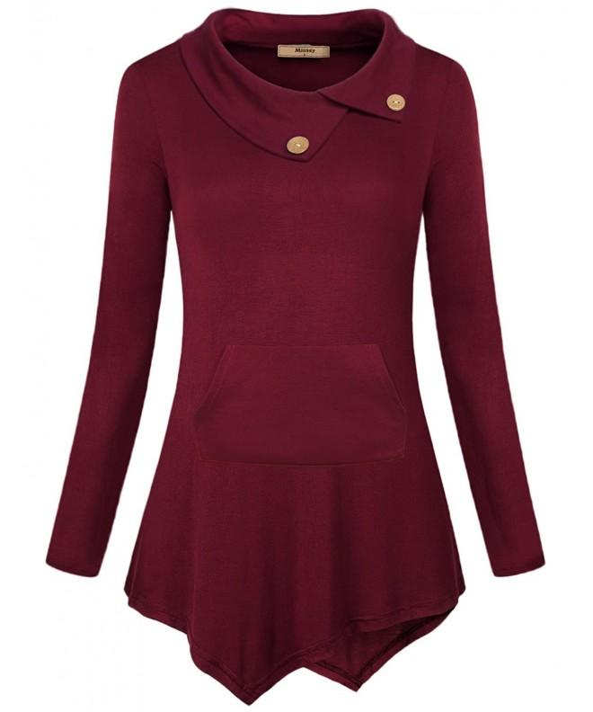 Miusey Womens Collar Sweatshirt Kangaroo