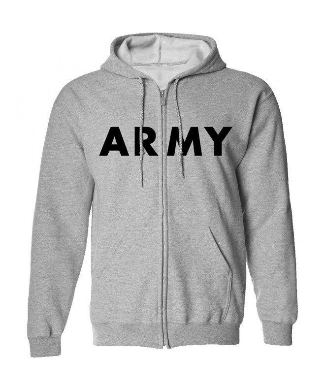 ARMY Full Zip Hooded Sweatshirt Gray