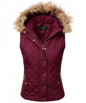 DRESSIS Womens Quilted Padding BURGUNDY