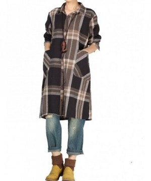 Mordenmiss Womens Casual Sleeve Tartan