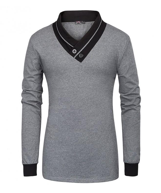 Mens Cotton V Neck Button Sleeve