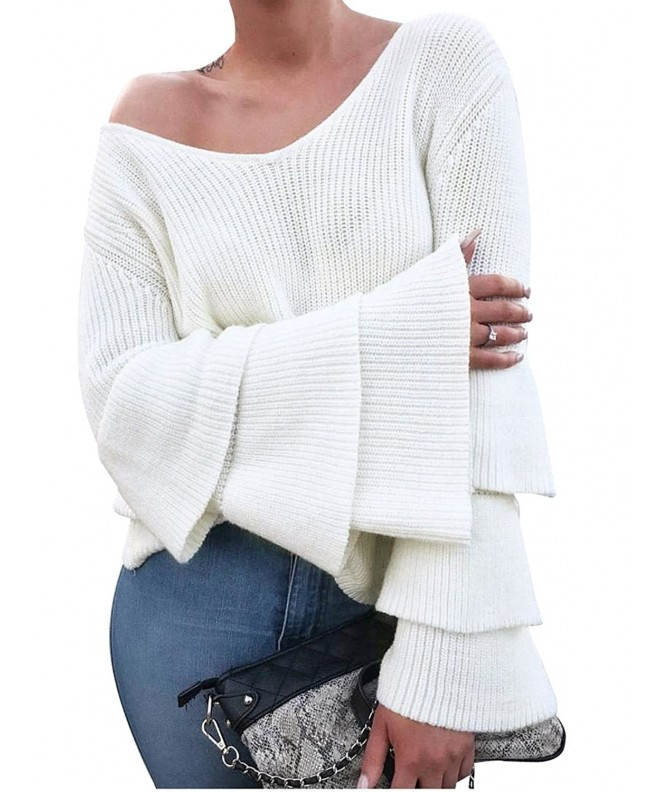 0d8357e839 Women s Loose V Neck Pullover Knit Sweater with Long Sleeves - White ...