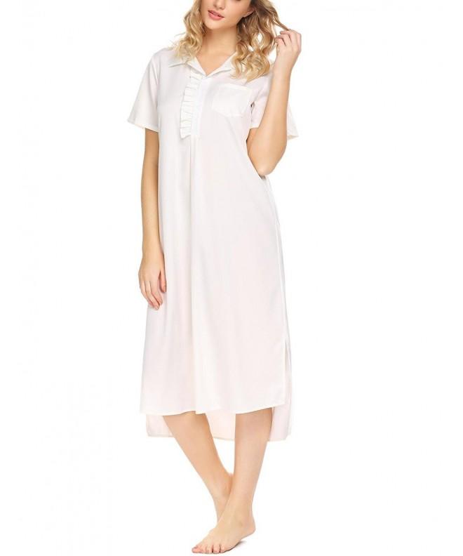 c63cb02bed Women s Short Sleeve Nightgown Vintage Victorian Ruffles Sleep Dress ...
