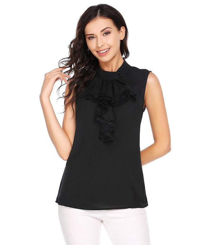 dongba Womens Ruffle Sleeveless Collar