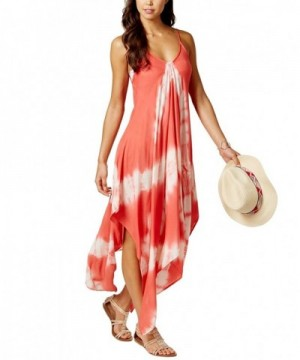 Tie Dye Handkerchief Dress Cover Up Coral