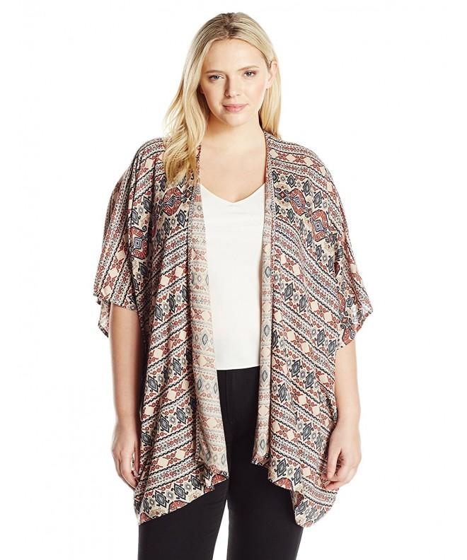 Angie Womens Printed Kimono Multi