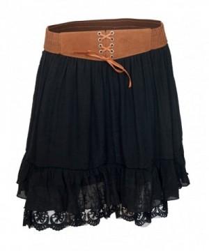 eVogues Womens Chiffon Skirt Black