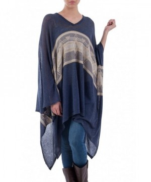 NOVICA Cotton Blend Striped Poncho