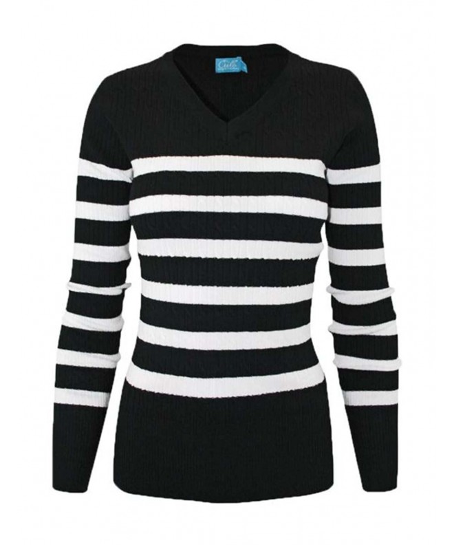 makeitmint Womens V Neck Sweater YISW0006_Blackwhite