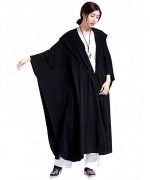 Mordenmiss Womens Linen Drape Trenchcoat