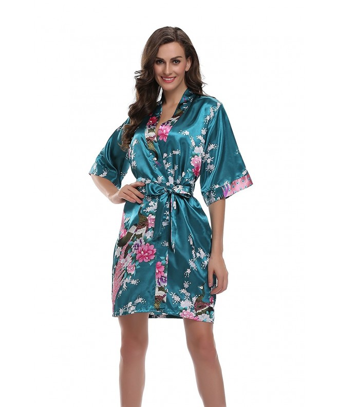 Sunnyhu Womens Kimono Peacock Blossoms