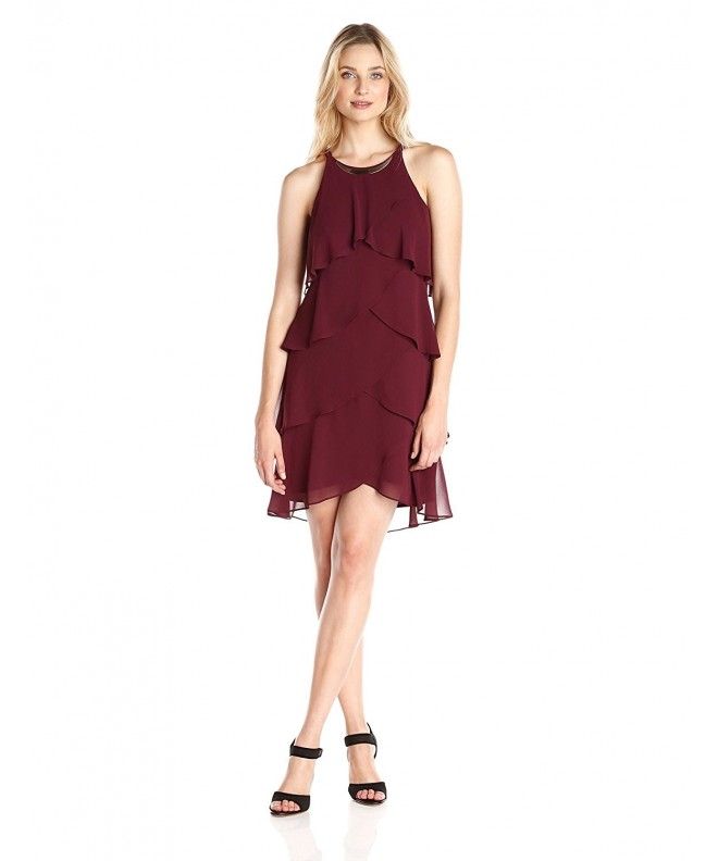 S L Fashions Womens Trimmed Oxblood