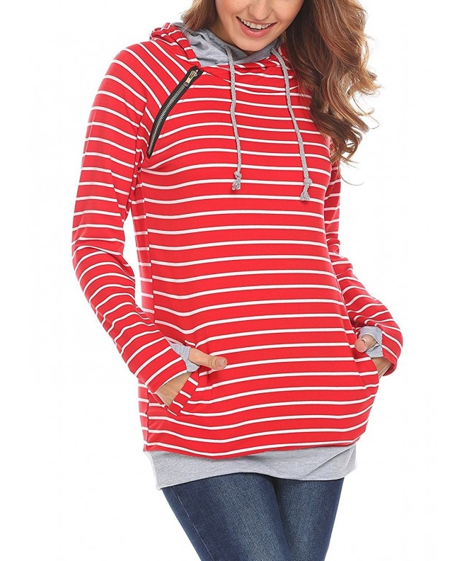 Womens Double Sweatshirt Pockets Pullover