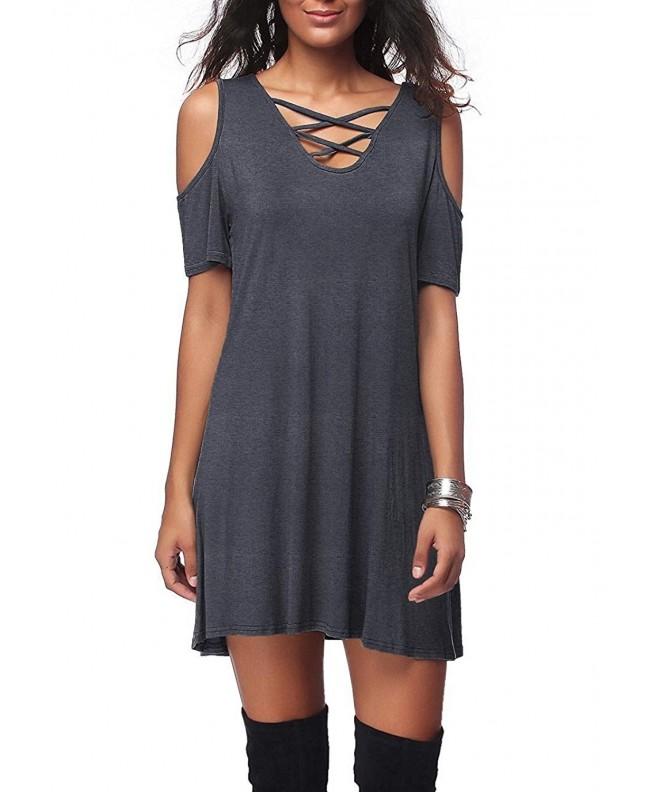 Dasbayla Womens Shoulder T Shirt DarkGray