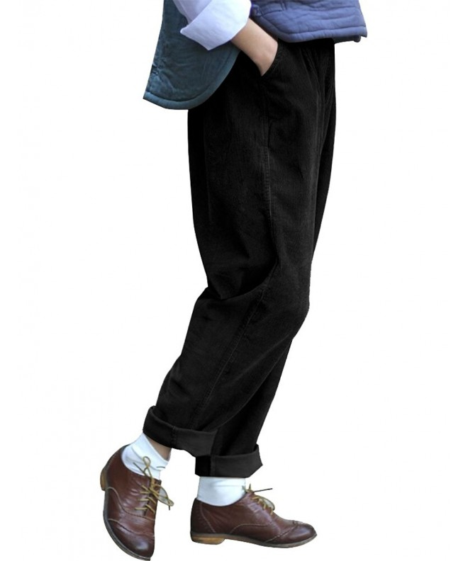 IDEALSANXUN Womens Corduroy Elastic Trousers
