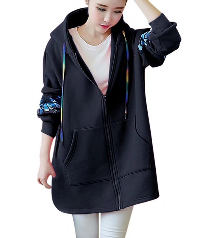 Sleeves Butterfly Sweatshirt Outwear Pockets