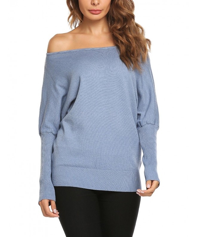 Zeagoo Shoulder Batwing Pullover Sweater
