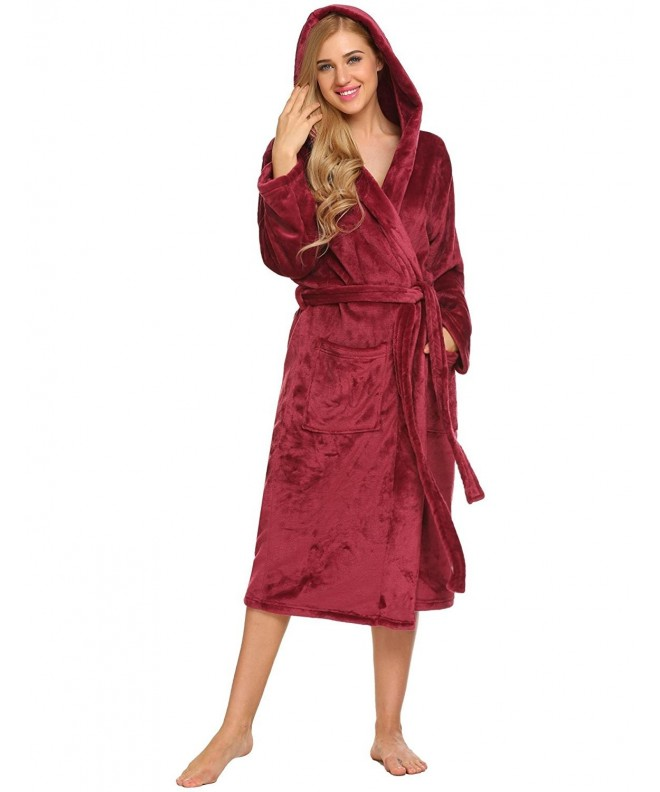Ekouaer Womens Plush Fleece Bathrobe