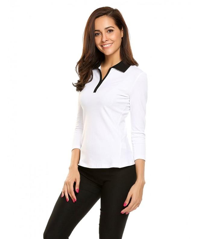 Ekouaer Casual Collar Elastic T Shirt